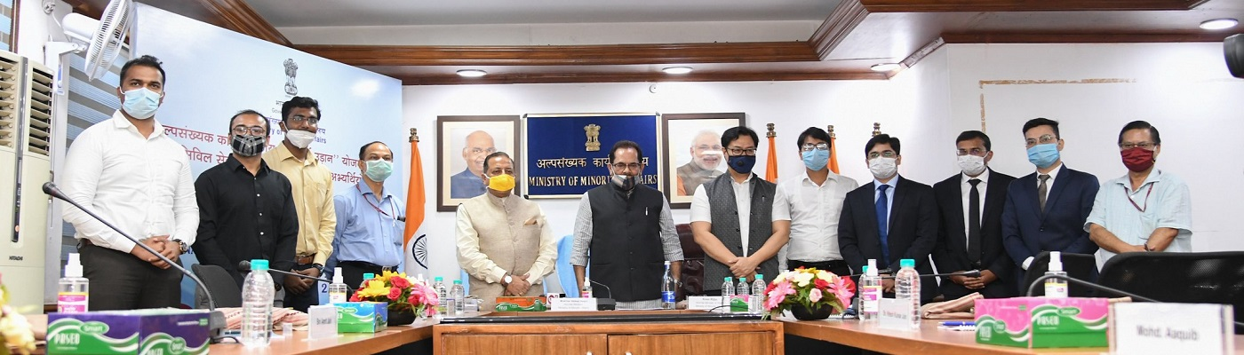 Felicitation of youths selected in Civil Services with assistance of free coaching schemes of Ministry of Minority Affairs, in New Delhi on August 18, 2020