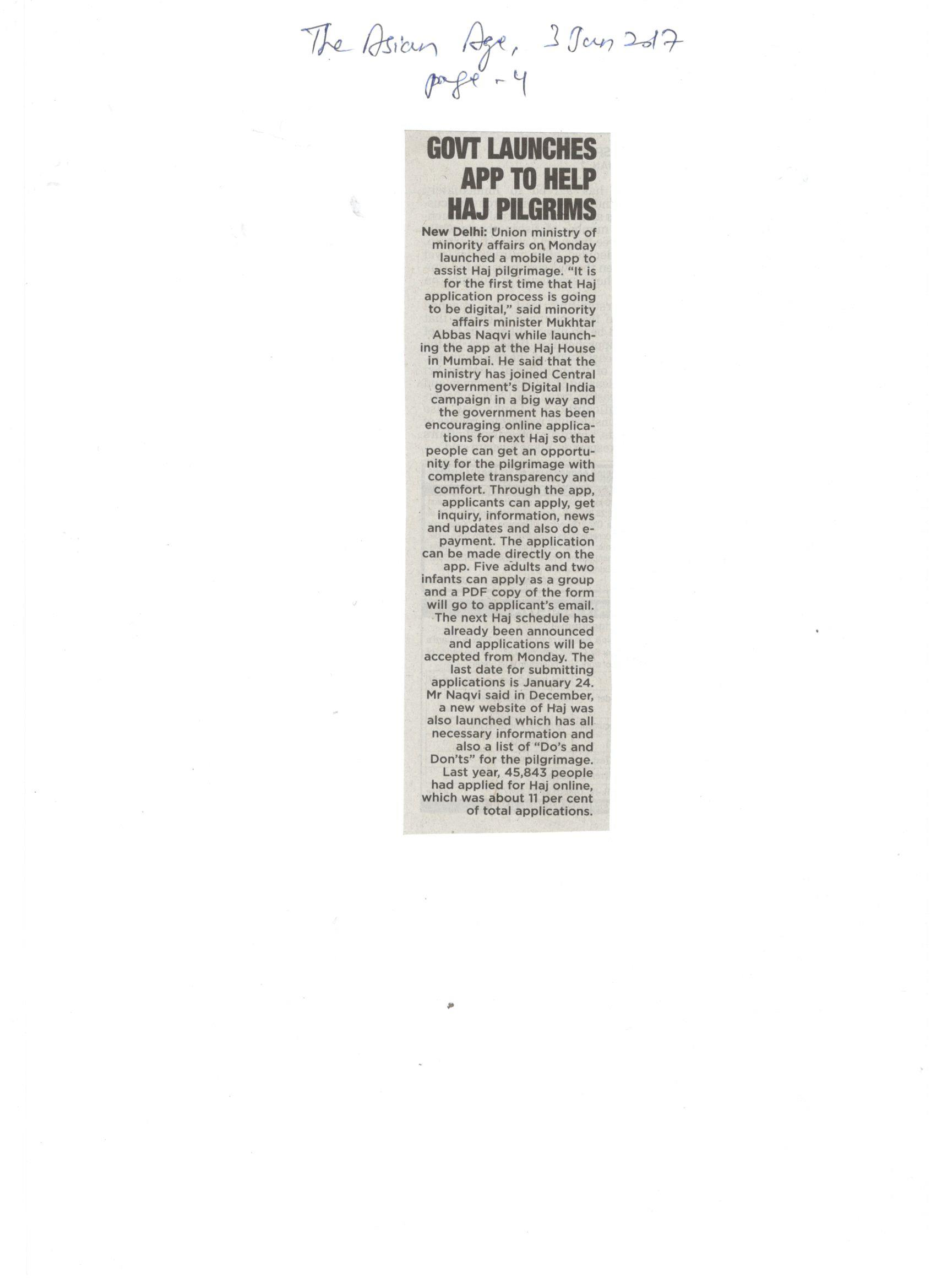 Coverage of launch of Haj Committee of India Mobile App at Haj House, Mumbai, 3rd The Asian Age