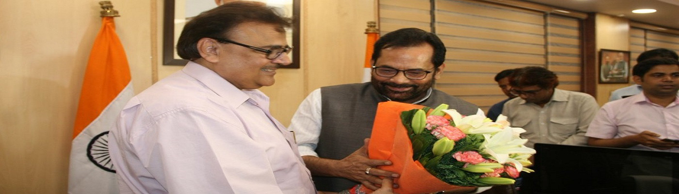 Shri Mukhtar Abbas Naqvi interacting with the media after taking charge as the Union Minister for Minority Affairs, in New Delhi on May 31, 2019.