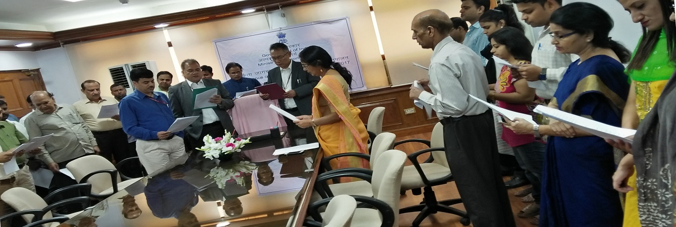 Secretary, Ministry of Minority Affairs pledge to the officials of the Ministry, on the occasion of Sardar Vallabhbhai Patel's birth anniversary, in New Delhi on October 31, 2017.