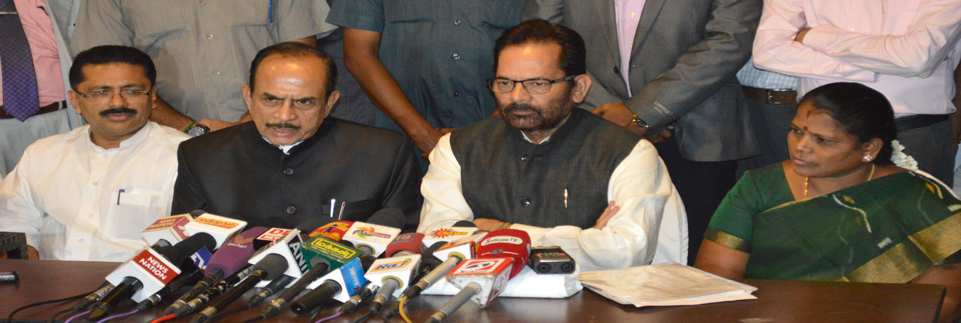 Hon'ble MoS for Minority Affairs (I/c) and Parliamentary Affairs, Shri Mukhtar Abbas Naqvi addressing the media after interacting with the Ministers and Secretaries of Minorities Welfare of Southern States, in Chennai on September 23, 2016