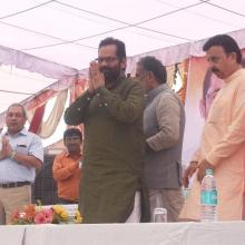 The Minister of State for Minority Affairs (Independent Charge) and Parliamentary Affairs, Shri Mukhtar Abbas Naqvi unveiling the plaque to inaugurate the Staff Quarters at Mewat Model School, in Haryana on September 29, 2016.