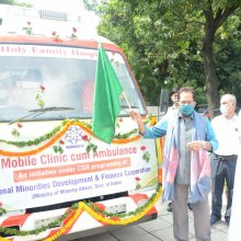 Flagged off mobile clinic, equipped with latest health care facilities, given by NMDFC, Minority Affairs Ministry to Holy Family Hospital, New Delhi.