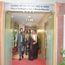 Today met Saudi Arab Ambassador H.E Dr Saud Mohd Al sati at Antyodaya Bhawan, positive discussion held on Haj 2017.