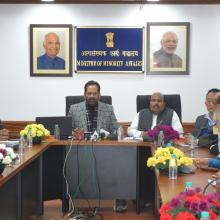The Union Minister for Minority Affairs, Shri Mukhtar Abbas Naqvi launching the portal for Haj Tour Operators, in New Delhi on December 14, 2017.
