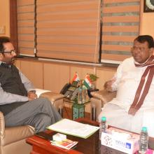 Telangana Agriculture Minister Shri Pocharam Srinivas Reddy today met me at Antyodaya Bhawan and discussed various development issues concerned to the state.