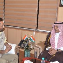 Dated 4 May 2018 met Saudi Arabia Ambassador H.E Dr Mohammad Al-Sati at Antyodaya Bhawan and discussed various issues of Haj 2018. I thanked Saudi Arabia Govt. for increasing Haj quota of India for consecutive second year.