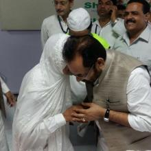 Union Minister of State (Independent Charge) for Minority Affairs and Parliamentary Affairs Shri Mukhtar Abbas Naqvi flagging of 1st batch of Haj pilgrims at Indira Gandhi International Airport today 24 july 2017.