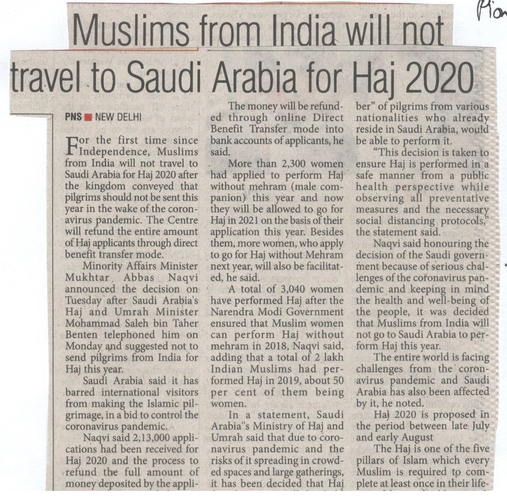 The Hajj Pilgrimage Is Canceled in 2020